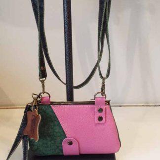 bb11e2094bf Tas Leer Double – Pink/Green